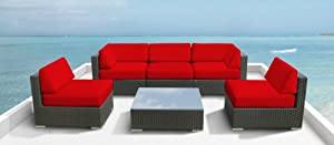 Luxxella Outdoor Patio Couch Wicker Furniture 6pc All Weather Sofa Bella 6 Set RED