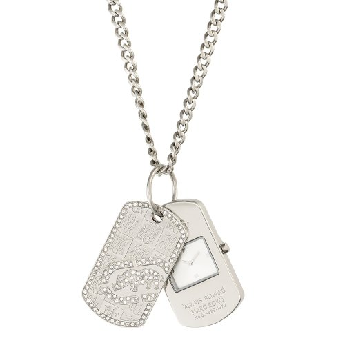 Marc Ecko Men's Dog Tag E11569G1 Silver Stainless-Steel Quartz Watch with Silver Dial