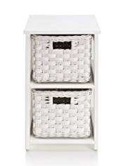 White Rattan 2-Tier Storage Unit