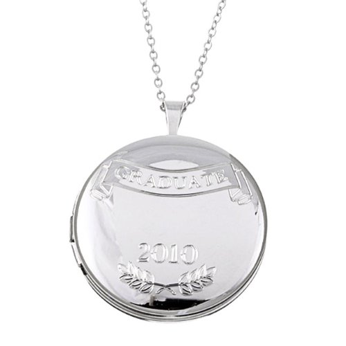 Sterling Essentials Sterling Silver Engraved 'Graduate 2010' 25-mm Round Locket Necklace