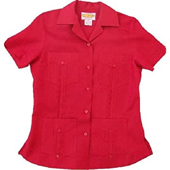 Women's Dark Red-Pleated Guayabera