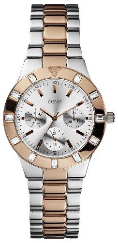 Guess W14551L1 - Reloj analógico de cuarzo para mujer, correa de acero inoxidable chapado multicolor