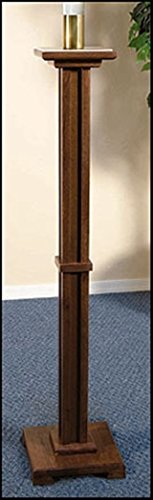 Walnut Stain Wood Paschal Candleholder with Brass Socket, 43 Inch (H)