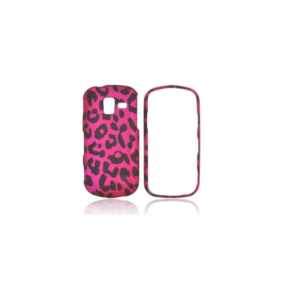 Hot Pink/ Black Leopard Samsung Intensity III Rubberized Hard Plastic Snap On Shell Case Cover