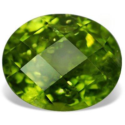 1.90 ct 9X7 mm SI Apple Green Oval Shape Checker Board Loose Peridot Gemstone