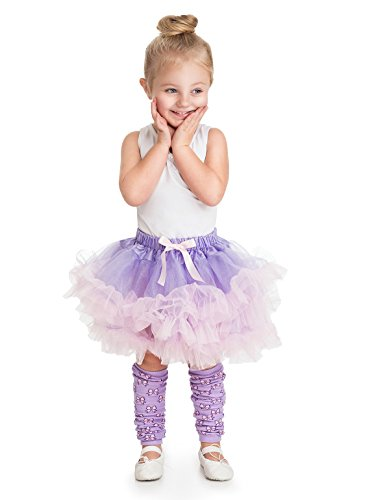 Girls Fluffy Tutu Lilac/Pink with Leg Warmers 3-8 Years (Pink Fluffies Leg Warmers)