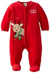 Little Me Baby-Boys Newborn Reindeer Velour Footie, Red, 3 Months