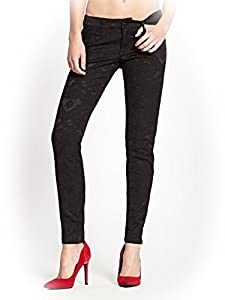G by GUESS Women's Joni Jacquard Super Skinny Jeans, JET BLACK (29)