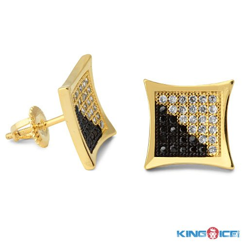 King Ice Gold Checkerboard Kite Swagger Earrings