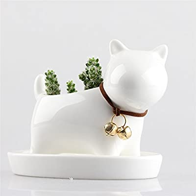 Cute Ainmal White Ceramic Succulent Plant Flower Pot Planter with Tray and Bell Small Cat Dog Rabbit Sheep Available Ivory White Milky White Available