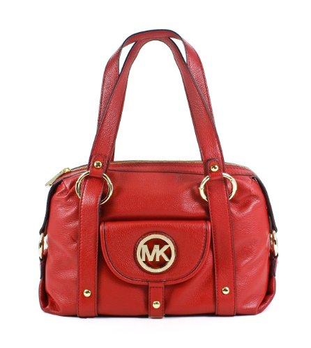Michael Kors Fulton Large Satchel Shoulder Bag Genuine Leather Red