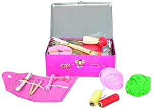 Kit in a Pretty Pink Tin. Includes French Knitting Doll, Croche