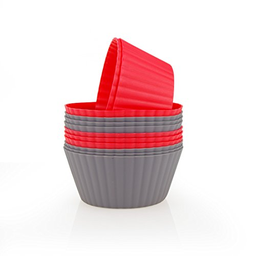 MIREN 12 Pack Reusable Nonstick Jumbo Premium Silicone Baking Cups, Cupcake and Muffin Liners, 3.8 Inch Large Size, in Storage Container, Red and Dark Gray Colors, Round (Large Muffin Pan Liners compare prices)