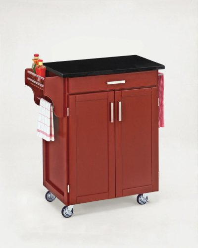 Cheap Kitchen Cart with Black Vinyl Top in Red Finish (VF_HY-9001-0039)