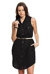 Women Black Linen Shirt Dress