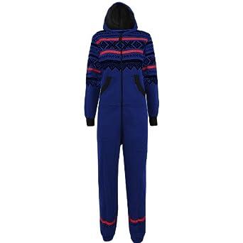 Oromiss Ladies Plain Aztec Onesie Zip Up Hooded Full Length Jumpsuit Playsuit