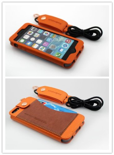 Nine States Durable Pu Leather Back Cover Universal Protection Lanyard Case For Iphone 5 5S 5C With Earphone Smart Cord Wrap Credit Card Holder Color Varies Orange