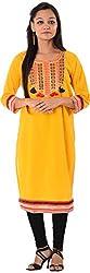 Kaashvi Creations Women's Cotton Straight Kurta (99901000000197-Xxl, Yellow, XX-Large)