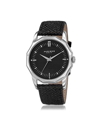 Akribos XXIV Men's AK825SSB Black Leather Watch