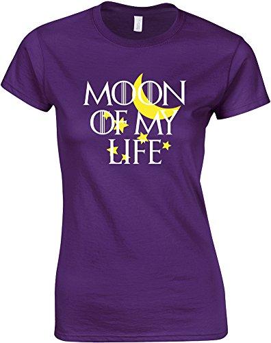 Moon Of My Life, T-Shirt Da Donna Con Stampa - Porpora/Blanco/Giallo 2XL = 98-102cm