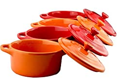 Dowan Porcelain 7oz Souffle Dish/Mini Casserole Set, 4 inch, Set of 4, Red & Orange