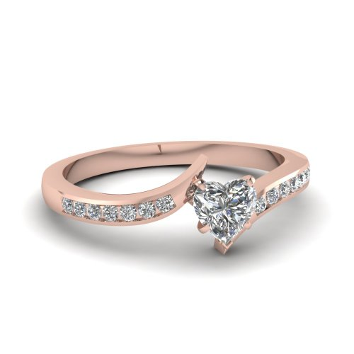 Fascinating Diamonds Twisted Edge Engagement Ring Channel Set 0.50 Ct Heart Shaped Si2-H Diamond 14K