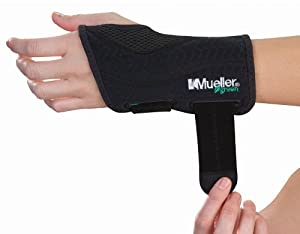 Mueller Fitted Wrist Brace, Left, Green, Black, Small/Medium