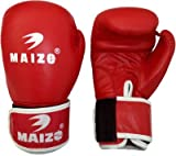 Maizo Leather Moulded Unisex Boxing Gloves (L, Red & White)