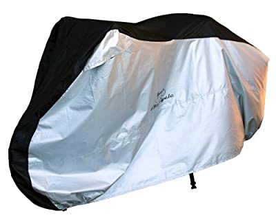 4MyCycle Bike Cover 210T Extra Heavy Duty - Bicycle Cover Waterproof Outdoor - Suits Mountain Road, Electric and Cruiser Bikes - Black & Silver