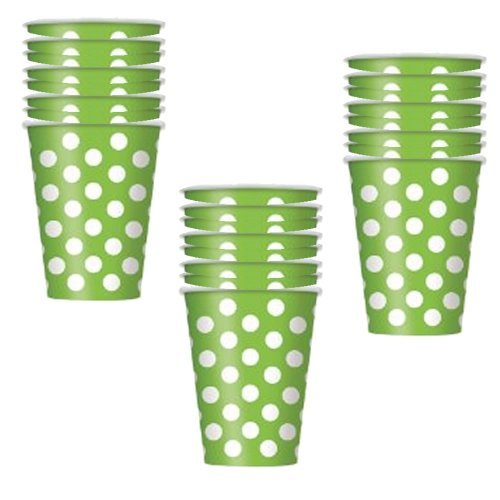 Lime Green Polka Dot 12 oz. Cups - 18 Pieces