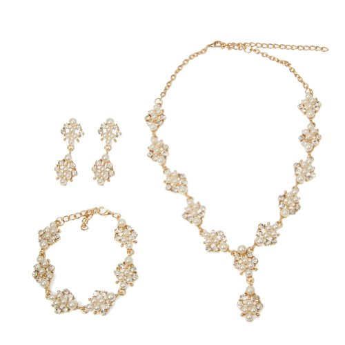 EVBEA Wedding Jewelry Vintage Gold Tone Pearl Cluster Crystal Jewelry Sets Necklace Bracelet and Earrings