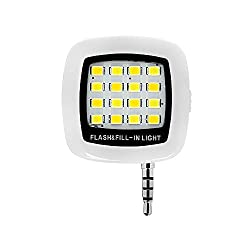 Grip Universal Portable Mini 16 LED Night Using Selfie Enhancing Dimmable Flash Cellphone Camera Flash Fill-in Light Pocket Spotlight Photo Speedlite Android Smartphone Tablets Camera iPhone (White)