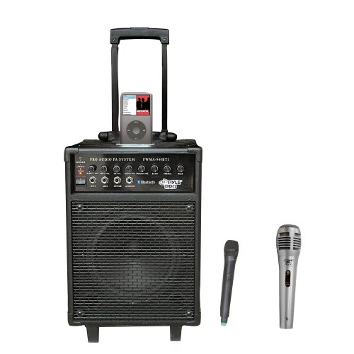 Pyle Speaker and Mic Package - PWMA940BTI 600 Watts VHF Wireless Portable PA System w/Microphone,i-Pod Dock & Bluetooth - PDMIK1 Professional Moving Coil Dynamic Handheld Microphone