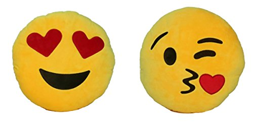 Set of Soft Emoji Plush Decorative Throw and Bed Pillow (Heart Eyes + Throwing Kisses Emoji)
