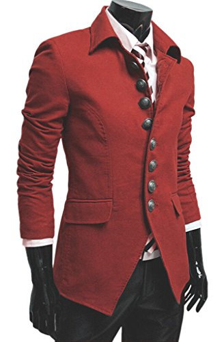 Easy Men's vintage Stylish Lapel Button Suit Coat Jacket Blazers L Red