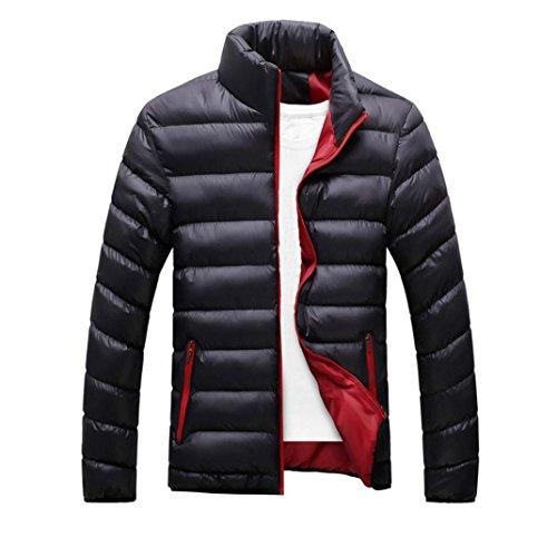 giacca da uomo, casual sottile caldo spessore cappotto parka cappotto con cappuccio (M, Nero)