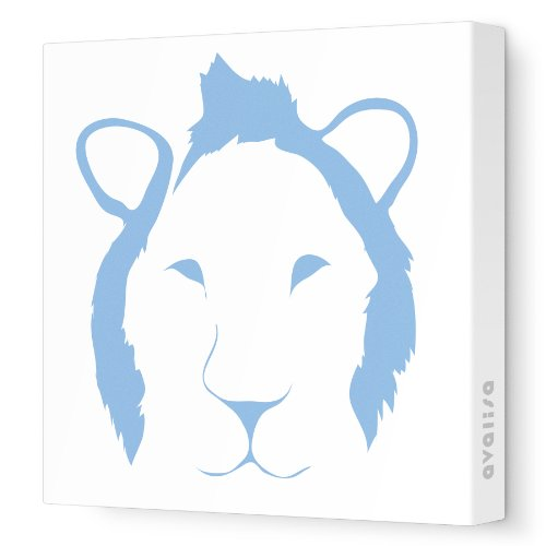 """Avalisa Stretched Canvas Nursery Wall Art, Lion Face, Blue, 28"""" X 28"""" front-912229"""
