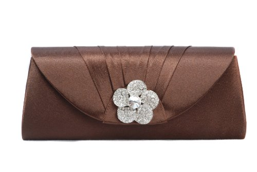 Chocolate brown satin clutch bag with pleats and diamante rose on flap by Vivid