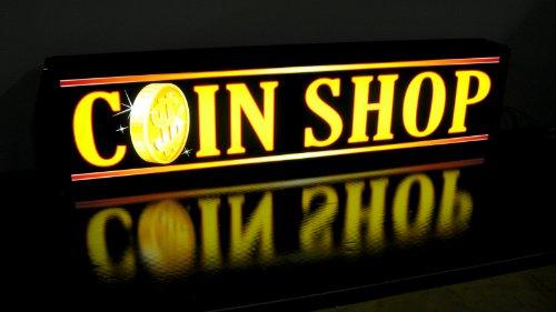 Coin Shop Light Box Sign - Led/Neon Alternative