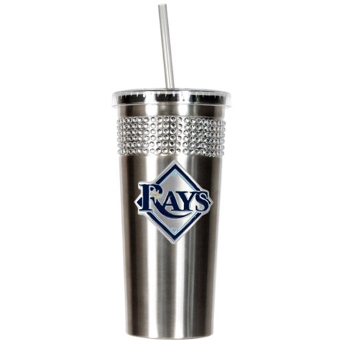 MLB Tampa Bay Rays Stainless Steel Bling Insulated Tumbler with Straw, 16-Ounce