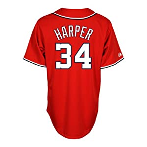 Buy Majestic Mens Washington Nationals Replica Bryce Harper Alternate Red Jersey by Majestic Athletic