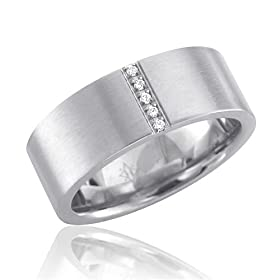 Men's Stainless Steel Diamond Band Ring (H, SI, 0.03 carat)-Band Width:7mm