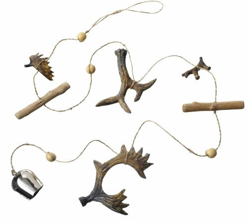 Natural Wooden Garland With Antlers & Bells