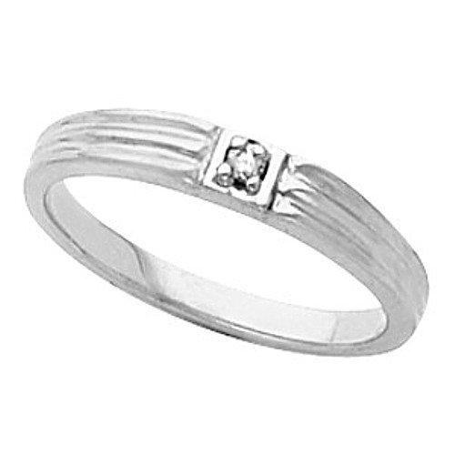 14K White Gold Diamond Promise Ring - 0.02 Ct. - Size 5