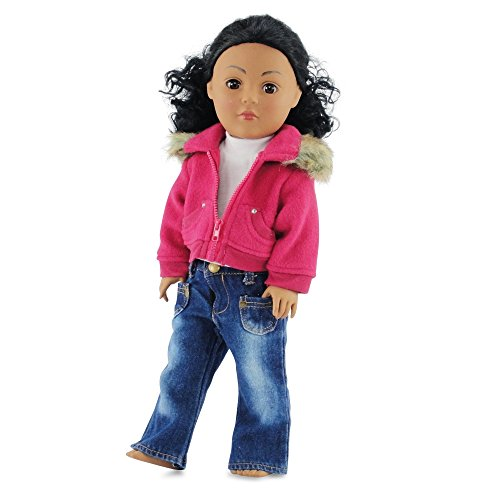 18-Inch-Doll-ClothesClothing-Fits-American-Girl-Doll-Fur-Collar-Accessory-Jacket-Outfit-with-White-T-Shirt-and-Distressed-Jeans
