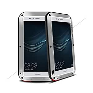 Love Mei Shockproof Dirtproof Metal Tempered Glass Case For Huawei P9-Silver