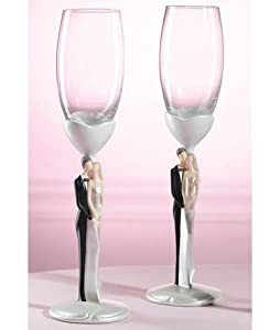 Caucasion Couple Bride and Groom Wedding Toasting Glasses - Set of 2