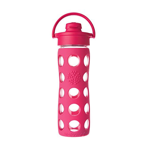 Lifefactory 16-Ounce Glass Bottle with Flip Cap and Silicone Sleeve, Raspberry