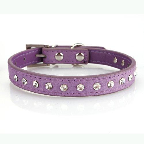 "Pet Dog Pu Leather Rhinestone Stud Adjustable Collar,Xs:7.7""-10.2""(Neck),Purple"