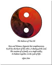 8x10 Yin Yang Print (Red/Brown)